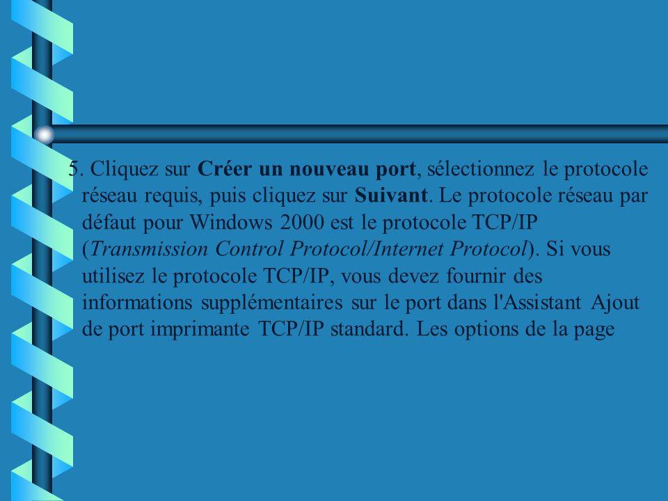 5. Cliquez sur Créer un nouveau port, sélectionnez le protocole réseau requis, puis cliquez sur Suivant. Le protocole réseau par défaut pour Windows 2