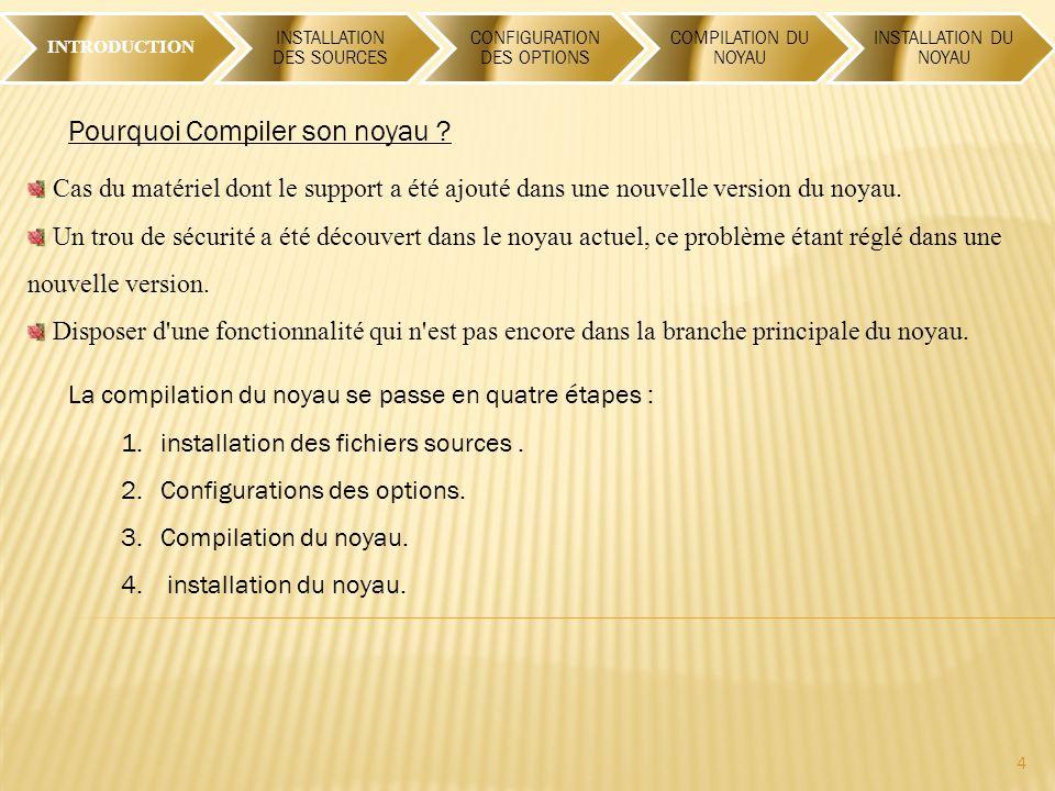 INTRODUCTION INSTALLATION DES SOURCES CONFIGURATION DES OPTIONS COMPILATION DU NOYAU INSTALLATION DU NOYAU 4 Pourquoi Compiler son noyau .