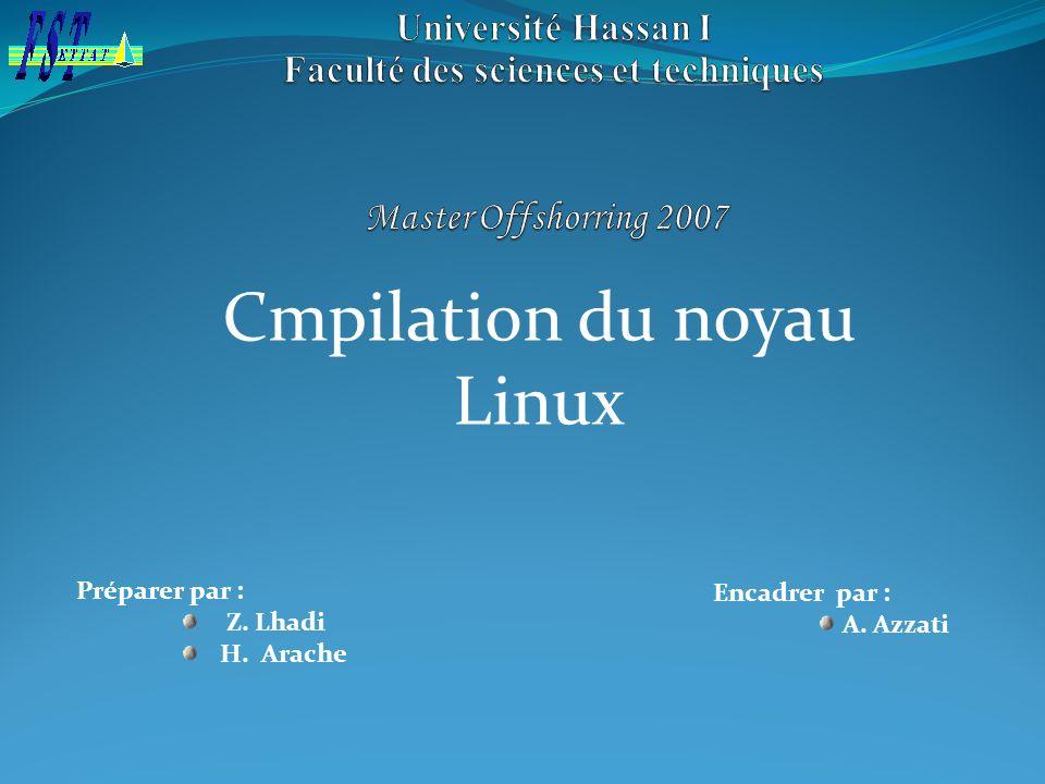Encadrer par : A. Azzati Préparer par : Z. Lhadi H. Arache Cmpilation du noyau Linux