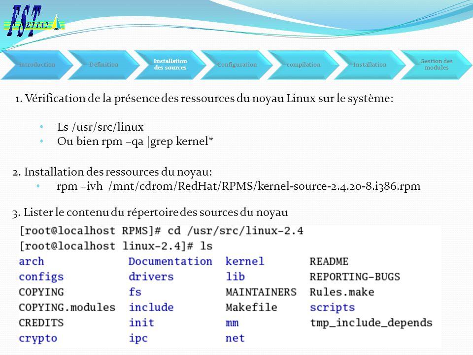 1. Vérification de la présence des ressources du noyau Linux sur le système: Ls /usr/src/linux Ou bien rpm –qa  grep kernel* 2. Installation des resso