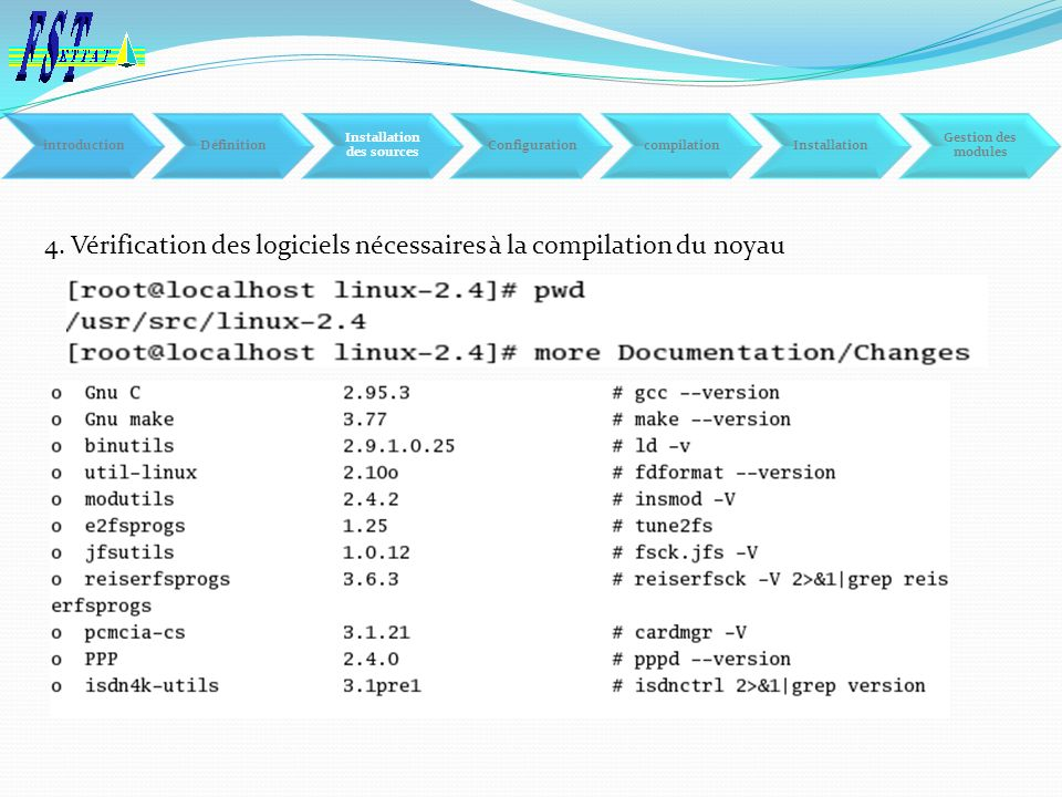 4. Vérification des logiciels nécessaires à la compilation du noyau introductionDéfinition Installation des sources ConfigurationcompilationInstallati