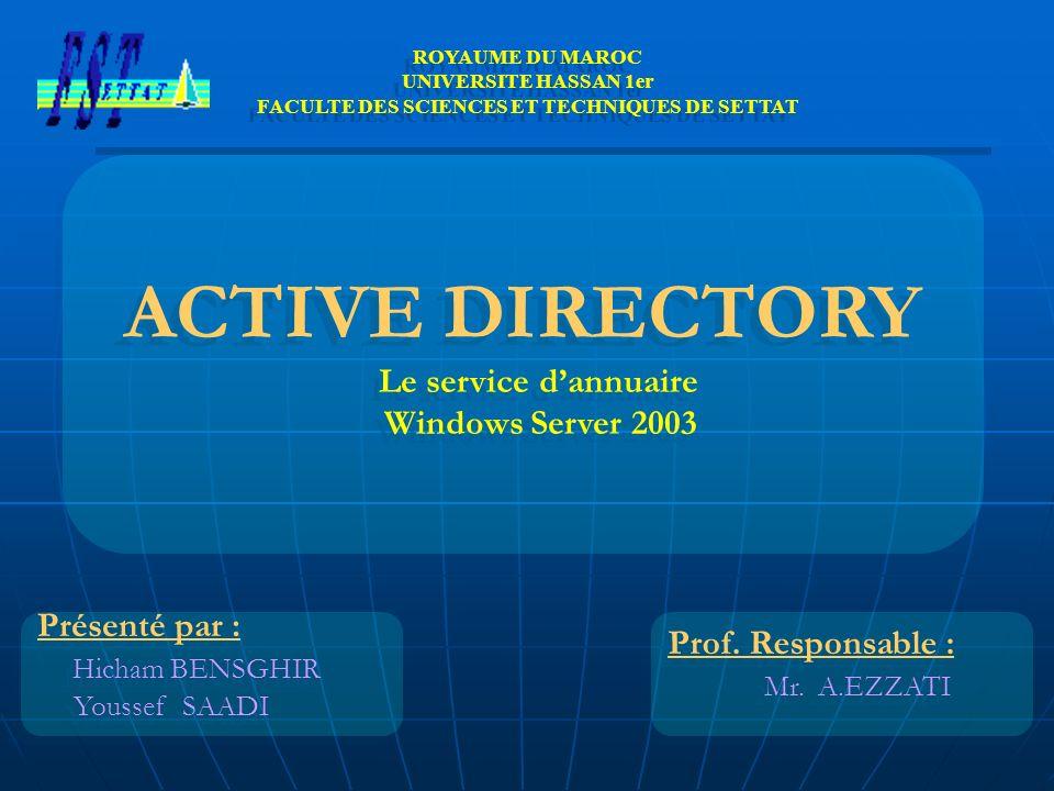 Présenté par : Hicham BENSGHIR Youssef SAADI Présenté par : Hicham BENSGHIR Youssef SAADI ROYAUME DU MAROC UNIVERSITE HASSAN 1er FACULTE DES SCIENCES