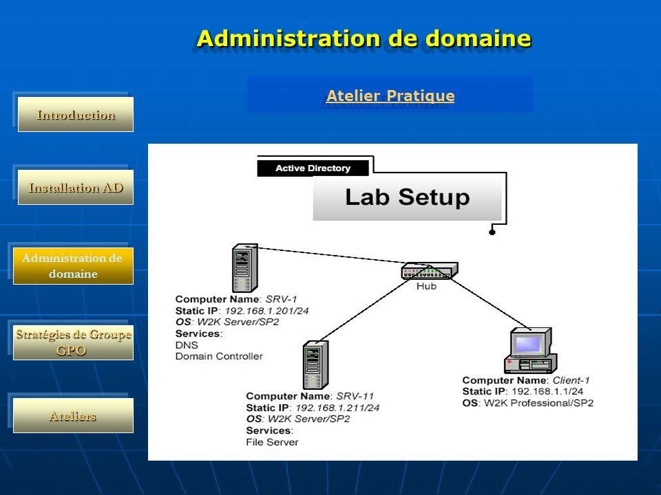 Stratégies de Groupe GPO Ateliers Administration de domaine Atelier Pratique Atelier Pratique Introduction Administration de domaine