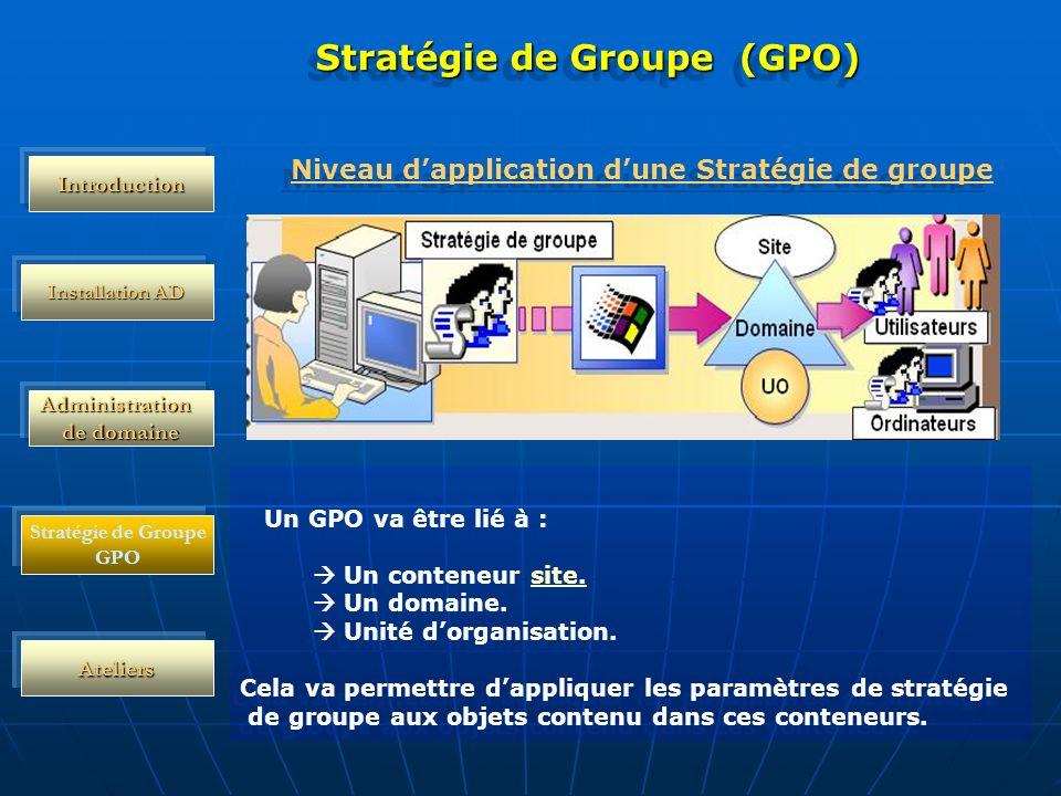 Administration de domaine Installation AD Ateliers Stratégie de Groupe (GPO) Un GPO va être lié à : Un conteneur site.site Un domaine. Unité dorganisa