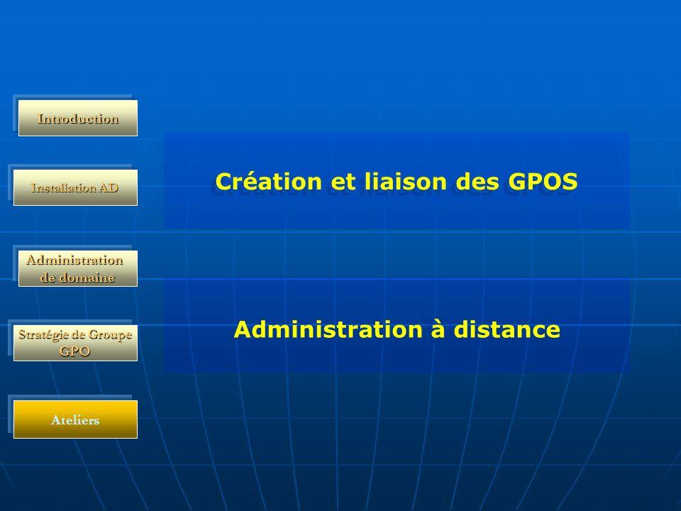 Administration de domaine Installation AD Stratégie de Groupe GPO Introduction Ateliers Création et liaison des GPOS Administration à distance