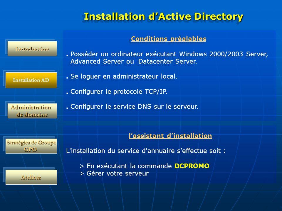 Administration de domaine Stratégies de Groupe GPO Ateliers Installation dActive Directory Conditions préalables. Posséder un ordinateur exécutant Win