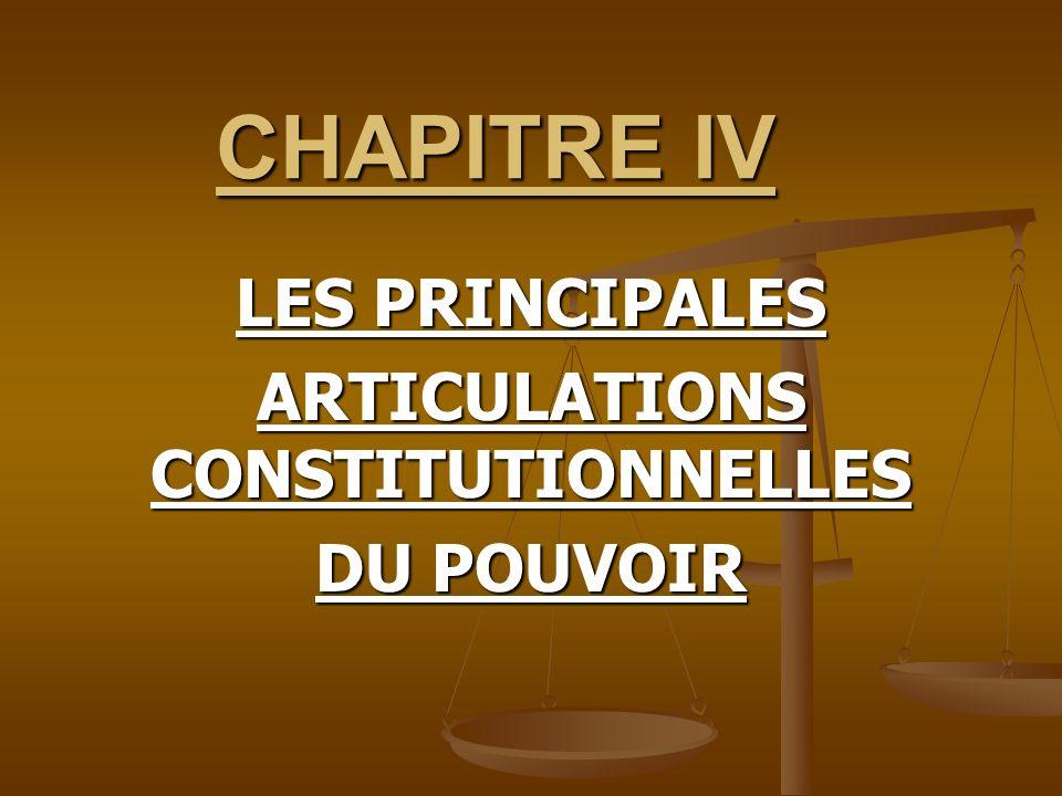 CHAPITRE IV LES PRINCIPALES ARTICULATIONS CONSTITUTIONNELLES DU POUVOIR