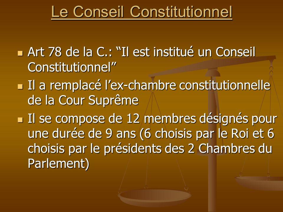 Le Conseil Constitutionnel Art 78 de la C.: Il est institué un Conseil Constitutionnel Art 78 de la C.: Il est institué un Conseil Constitutionnel Il