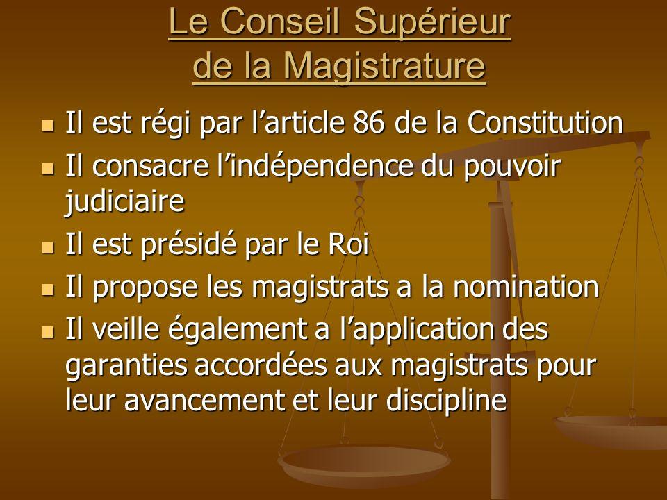 Le Conseil Supérieur de la Magistrature Il est régi par larticle 86 de la Constitution Il est régi par larticle 86 de la Constitution Il consacre lind