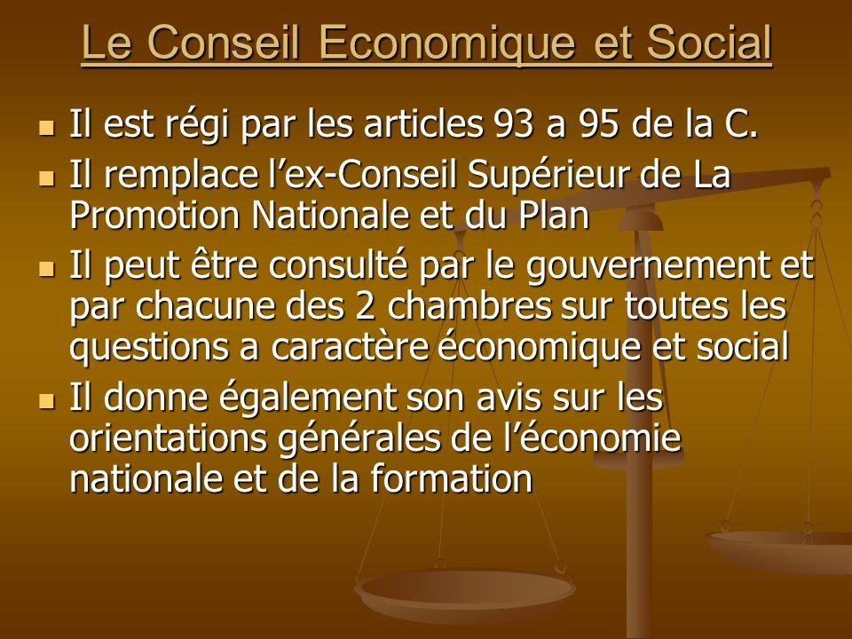 Le Conseil Economique et Social Il est régi par les articles 93 a 95 de la C. Il est régi par les articles 93 a 95 de la C. Il remplace lex-Conseil Su