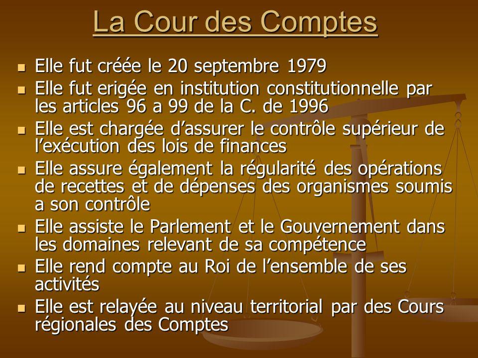 La Cour des Comptes Elle fut créée le 20 septembre 1979 Elle fut créée le 20 septembre 1979 Elle fut erigée en institution constitutionnelle par les a