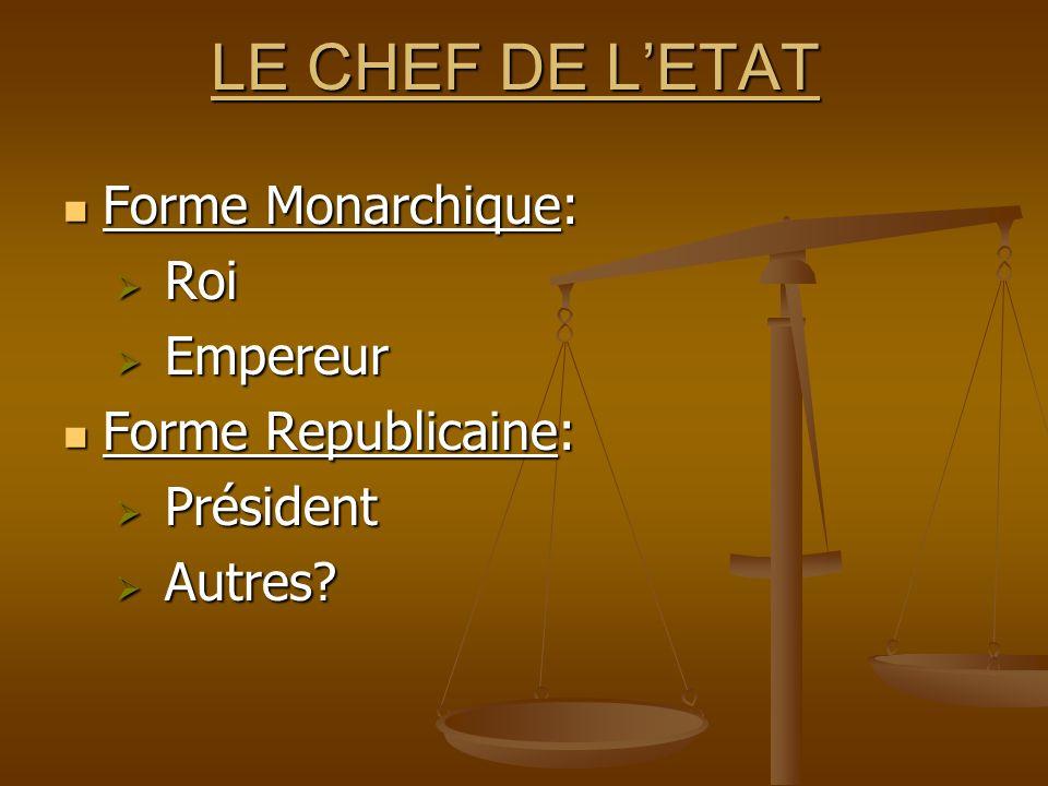 LE CHEF DE LETAT Forme Monarchique: Forme Monarchique: Roi Roi Empereur Empereur Forme Republicaine: Forme Republicaine: Président Président Autres? A