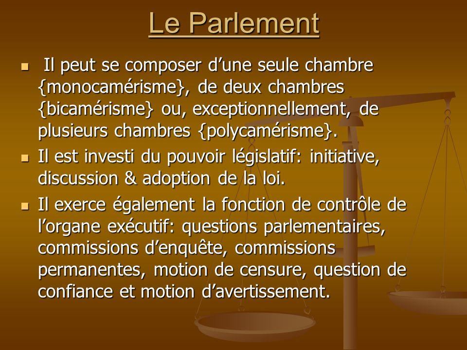 Le Parlement Il peut se composer dune seule chambre {monocamérisme}, de deux chambres {bicamérisme} ou, exceptionnellement, de plusieurs chambres {pol