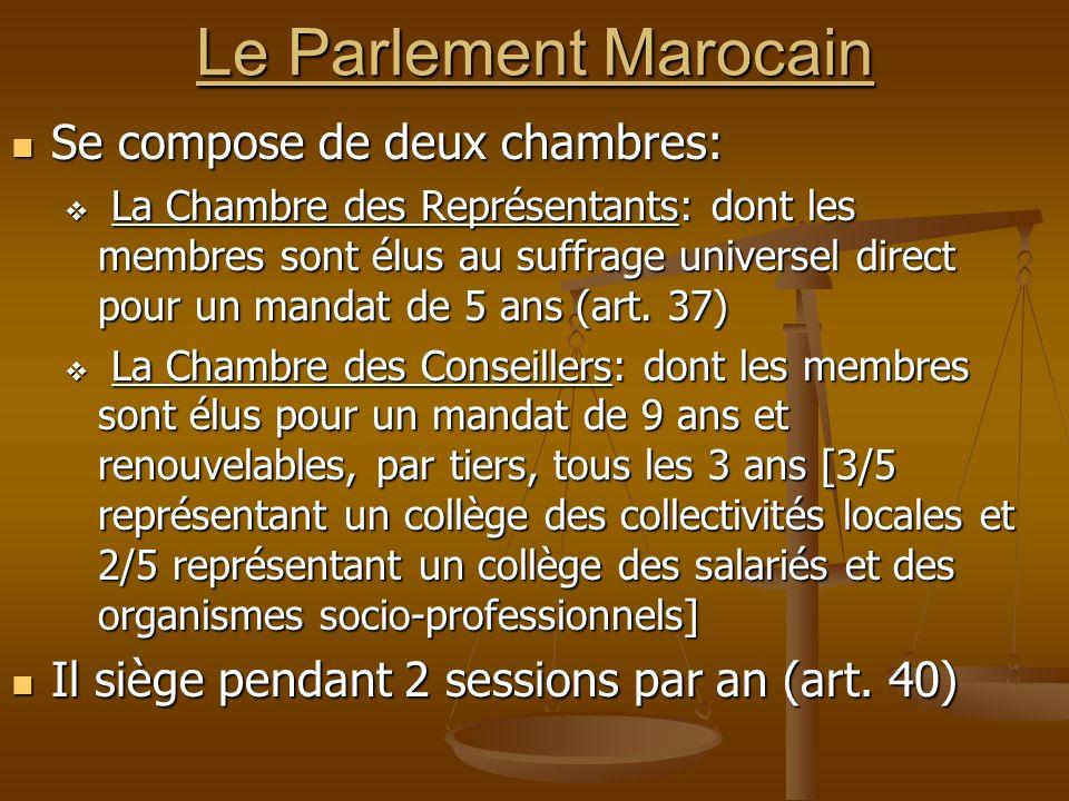 Le Parlement Marocain Se compose de deux chambres: Se compose de deux chambres: La Chambre des Représentants: dont les membres sont élus au suffrage u