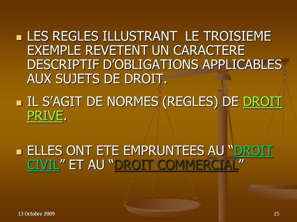 13 Octobre 200915 LES REGLES ILLUSTRANT LE TROISIEME EXEMPLE REVETENT UN CARACTERE DESCRIPTIF DOBLIGATIONS APPLICABLES AUX SUJETS DE DROIT. LES REGLES