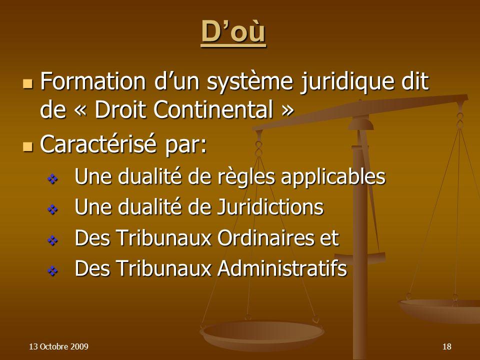 13 Octobre 200918 Doù Formation dun système juridique dit de « Droit Continental » Formation dun système juridique dit de « Droit Continental » Caract