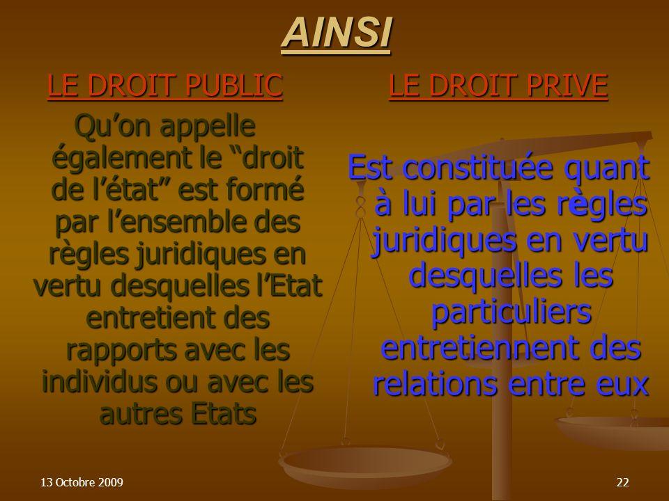 13 Octobre 200922AINSI LE DROIT PUBLIC Quon appelle également le droit de létat est formé par lensemble des règles juridiques en vertu desquelles lEta