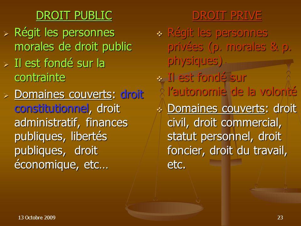 13 Octobre 200923 DROIT PUBLIC Régit les personnes morales de droit public Régit les personnes morales de droit public Il est fondé sur la contrainte