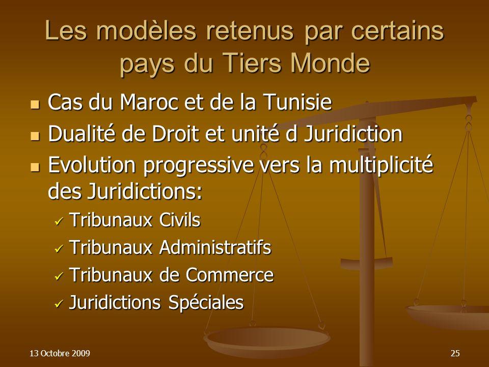 13 Octobre 200925 Les modèles retenus par certains pays du Tiers Monde Cas du Maroc et de la Tunisie Cas du Maroc et de la Tunisie Dualité de Droit et