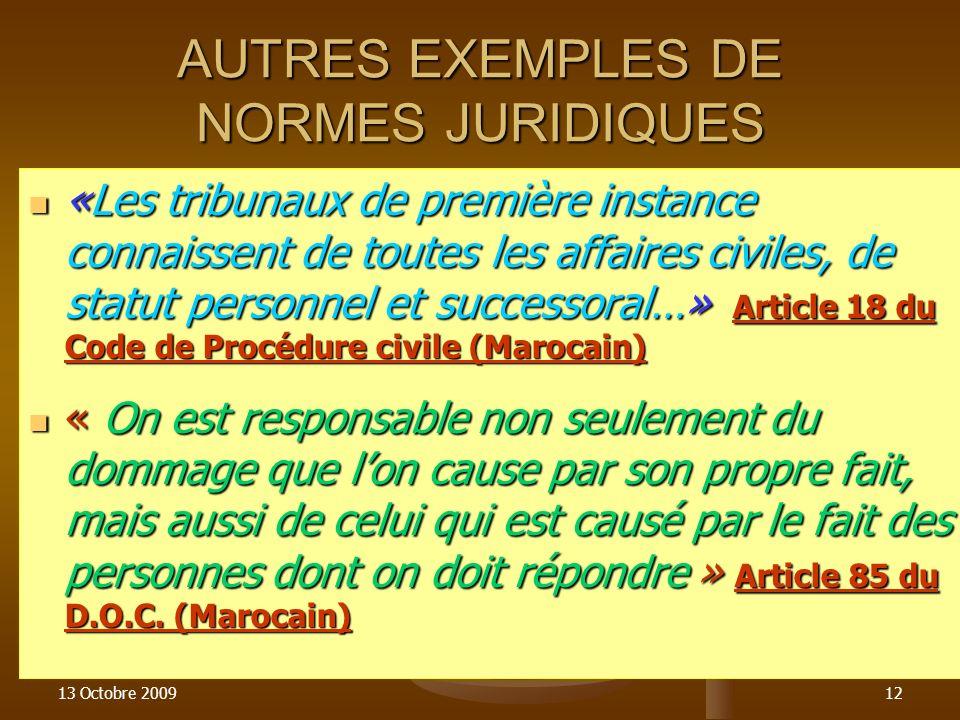 13 Octobre 200912 AUTRES EXEMPLES DE NORMES JURIDIQUES «Les tribunaux de première instance connaissent de toutes les affaires civiles, de statut perso