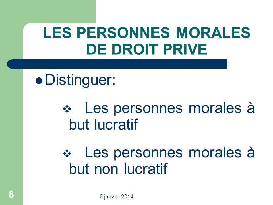 2 janvier 2014 8 LES PERSONNES MORALES DE DROIT PRIVE Distinguer: Les personnes morales à but lucratif Les personnes morales à but non lucratif