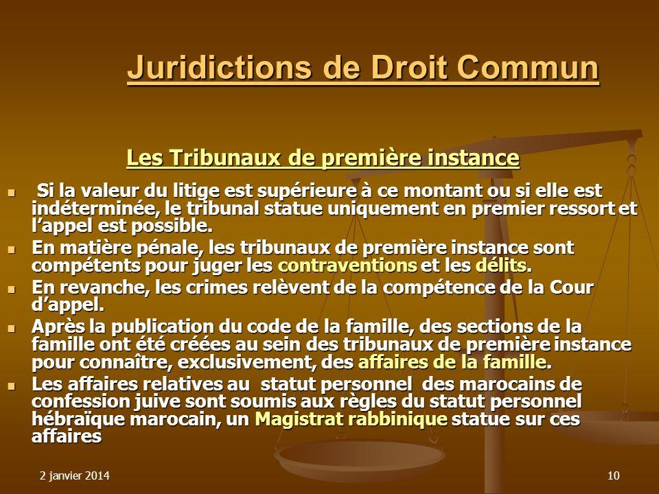 2 janvier 201410 Juridictions de Droit Commun Les Tribunaux de première instance Si la valeur du litige est supérieure à ce montant ou si elle est ind