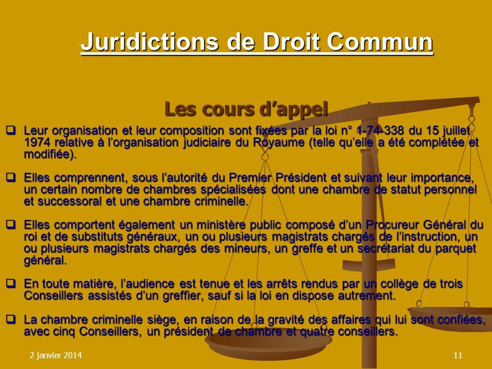 2 janvier 201411 Juridictions de Droit Commun Les cours dappel Leur organisation et leur composition sont fixées par la loi n° 1-74-338 du 15 juillet