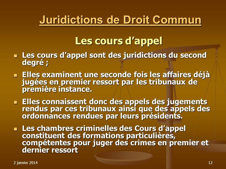 2 janvier 201412 Juridictions de Droit Commun Les cours dappel Les cours dappel sont des juridictions du second degré ; Les cours dappel sont des juri