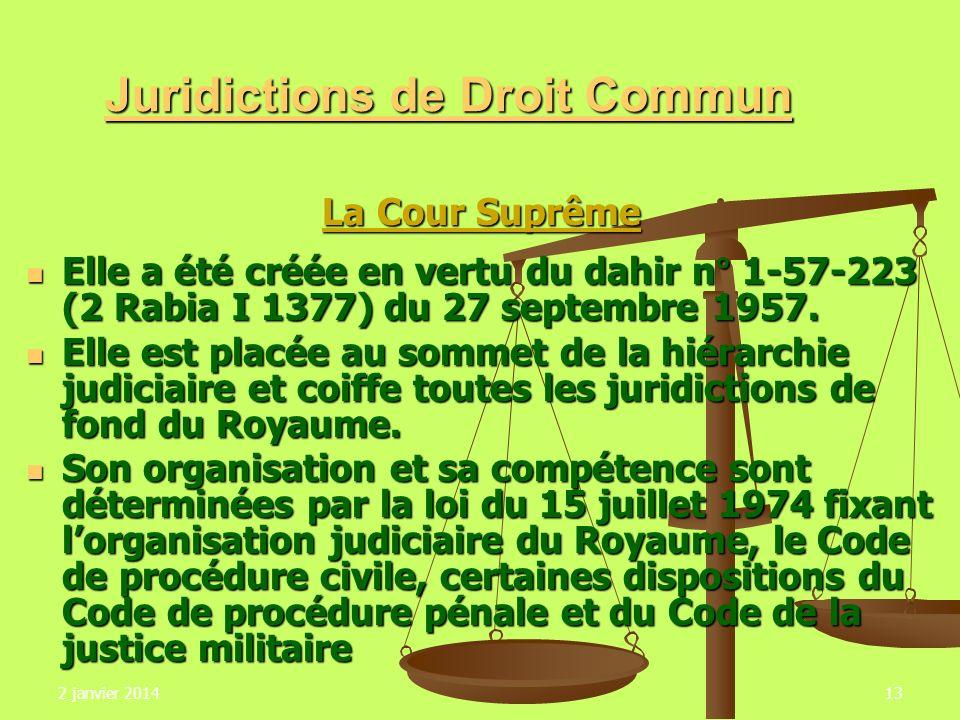 2 janvier 201413 Juridictions de Droit Commun La Cour Suprême La Cour Suprême Elle a été créée en vertu du dahir n° 1-57-223 (2 Rabia I 1377) du 27 se
