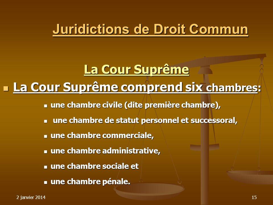 2 janvier 201415 Juridictions de Droit Commun La Cour Suprême La Cour Suprême comprend six chambres: La Cour Suprême comprend six chambres: une chambr