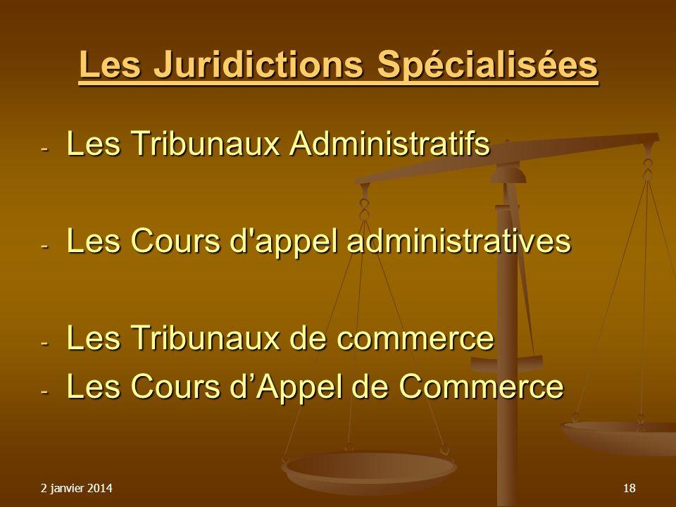 2 janvier 201418 Les Juridictions Spécialisées - Les Tribunaux Administratifs - Les Cours d'appel administratives - Les Tribunaux de commerce - Les Co