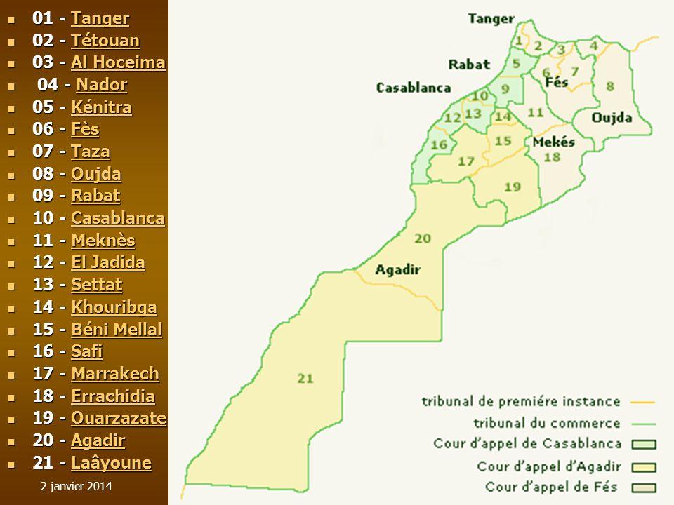 2 janvier 20142 01 - Tanger 01 - TangerTanger 02 - Tétouan 02 - TétouanTétouan 03 - Al Hoceima 03 - Al HoceimaAl HoceimaAl Hoceima 04 - Nador 04 - Nad