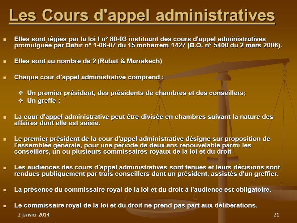 2 janvier 201421 Les Cours d'appel administratives Les Cours d'appel administratives Elles sont régies par la loi l n° 80-03 instituant des cours d'ap