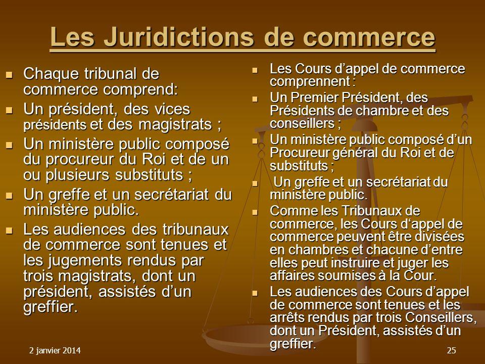 2 janvier 201425 Les Juridictions de commerce Chaque tribunal de commerce comprend: Chaque tribunal de commerce comprend: Un président, des vices prés