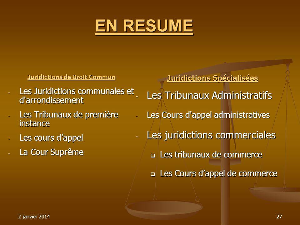 2 janvier 201427 EN RESUME Juridictions de Droit Commun - Les Juridictions communales et d'arrondissement - Les Juridictions communales et d'arrondiss