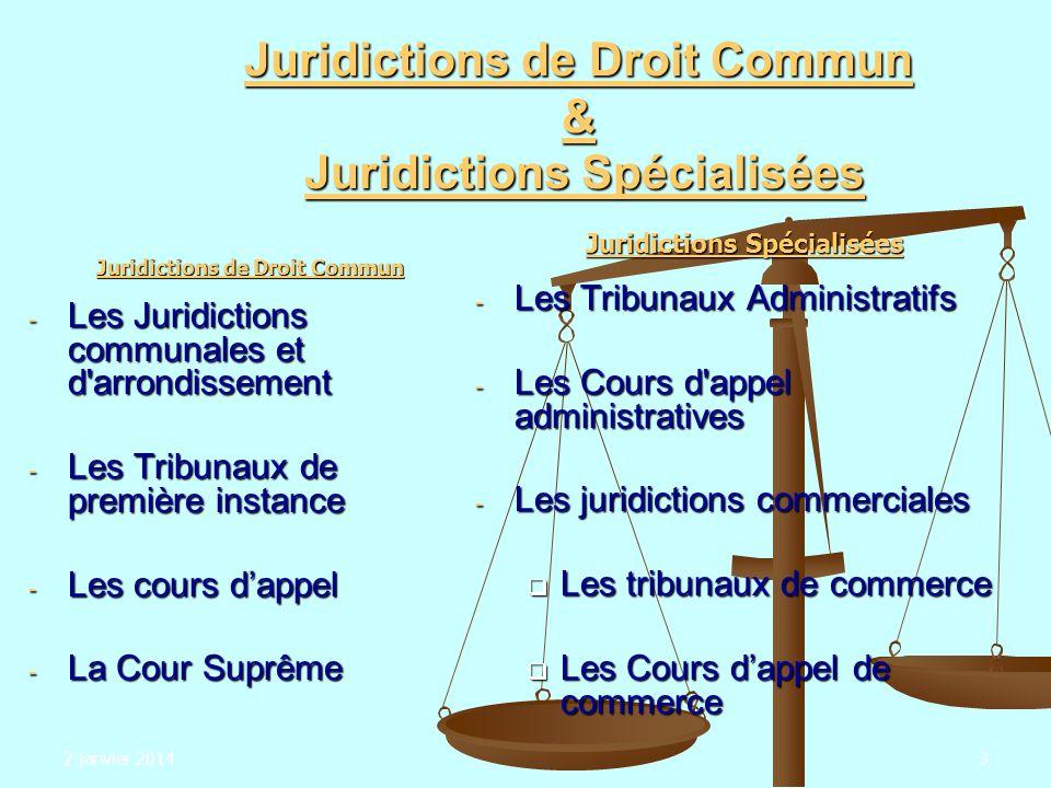 2 janvier 20143 Juridictions de Droit Commun & Juridictions Spécialisées Juridictions de Droit Commun - Les Juridictions communales et d'arrondissemen