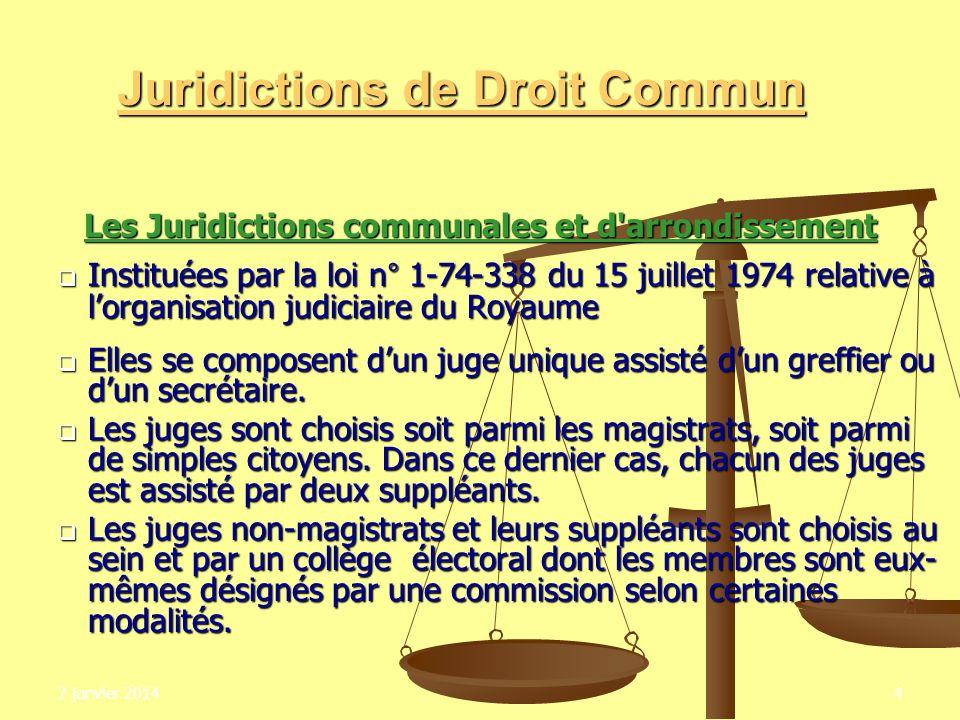 2 janvier 20144 Juridictions de Droit Commun Les Juridictions communales et d'arrondissement Instituées par la loi n° 1-74-338 du 15 juillet 1974 rela