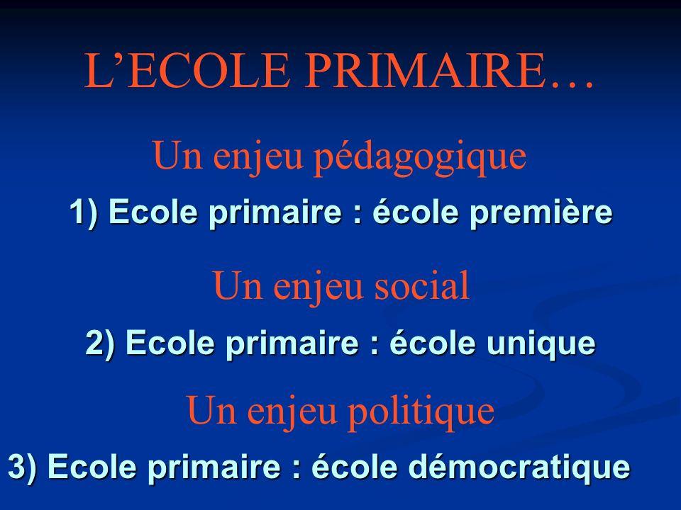 Un enjeu pédagogique Un enjeu politique Un enjeu social 1) Ecole primaire : école première 2) Ecole primaire : école unique 3) Ecole primaire : école