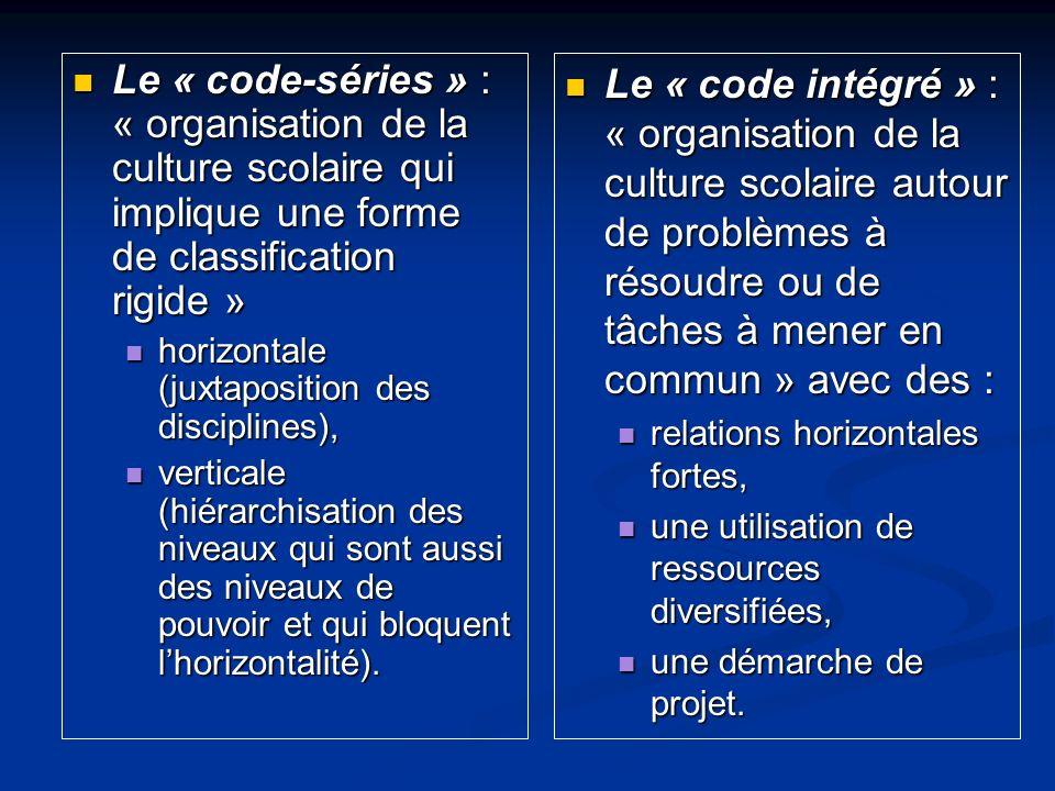 Le « code-séries » : « organisation de la culture scolaire qui implique une forme de classification rigide » Le « code-séries » : « organisation de la