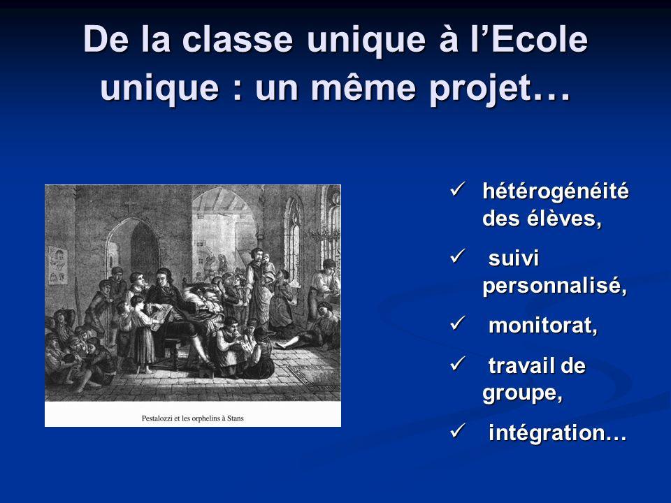 De la classe unique à lEcole unique : un même projet … hétérogénéité des élèves, hétérogénéité des élèves, suivi personnalisé, suivi personnalisé, mon