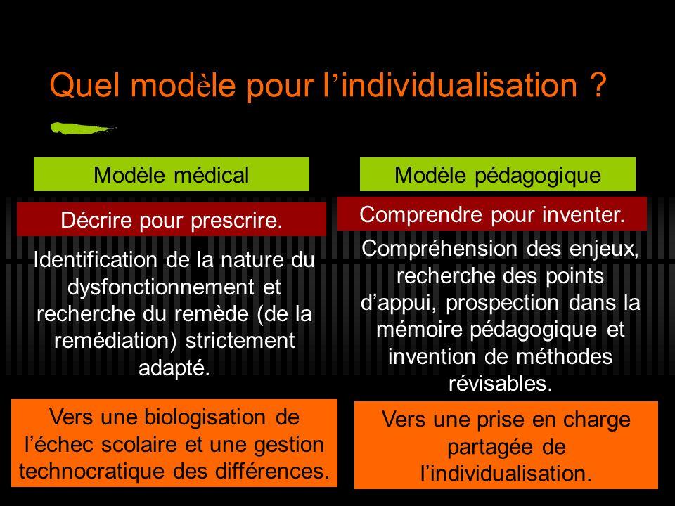 Quel mod è le pour l individualisation ? Modèle médicalModèle pédagogique Identification de la nature du dysfonctionnement et recherche du remède (de