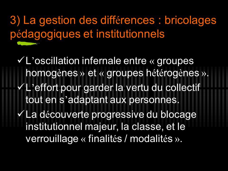 3) La gestion des diff é rences : bricolages p é dagogiques et institutionnels L oscillation infernale entre « groupes homog è nes » et « groupes h é