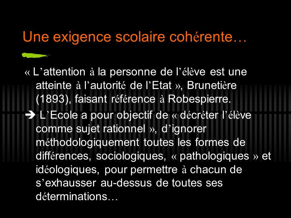 Une exigence scolaire coh é rente … « L attention à la personne de l é l è ve est une atteinte à l autorit é de l Etat », Bruneti è re (1893), faisant