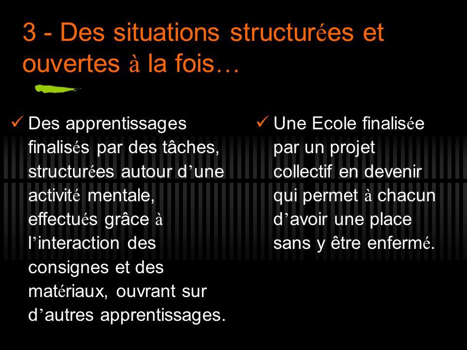 3 - Des situations structur é es et ouvertes à la fois … Des apprentissages finalis é s par des tâches, structur é es autour d une activit é mentale,