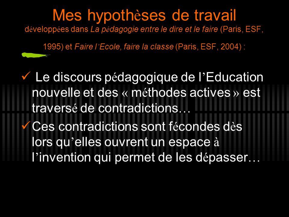 Mes hypoth è ses de travail d é velopp é es dans La p é dagogie entre le dire et le faire (Paris, ESF, 1995) et Faire l Ecole, faire la classe (Paris,