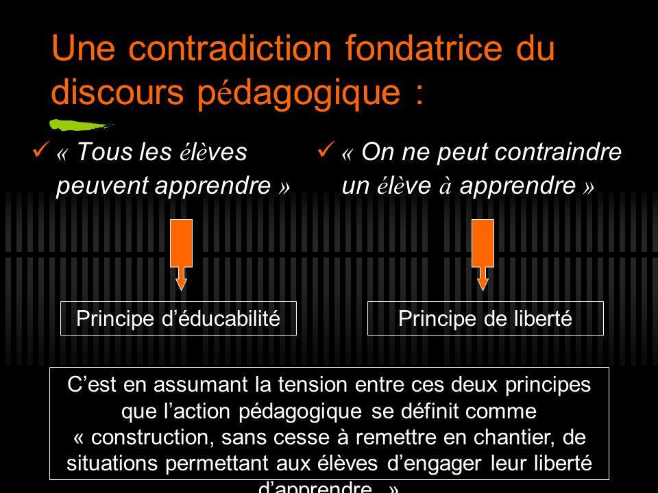 Une contradiction fondatrice du discours p é dagogique : « Tous les é l è ves peuvent apprendre » « On ne peut contraindre un é l è ve à apprendre » P