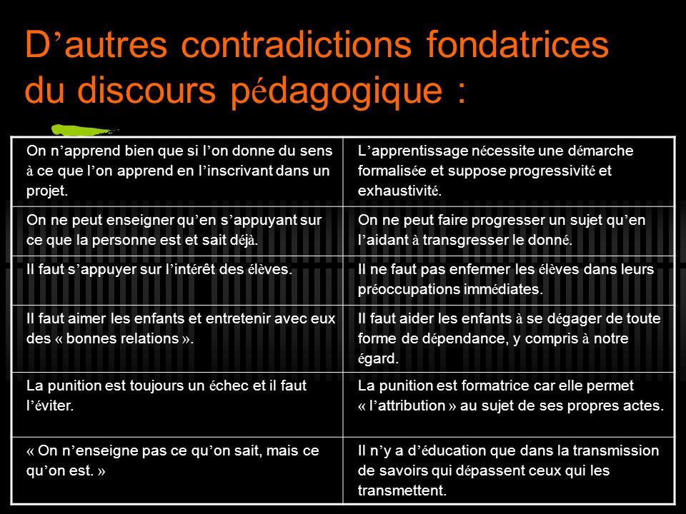 D autres contradictions fondatrices du discours p é dagogique : On n apprend bien que si l on donne du sens à ce que l on apprend en l inscrivant dans