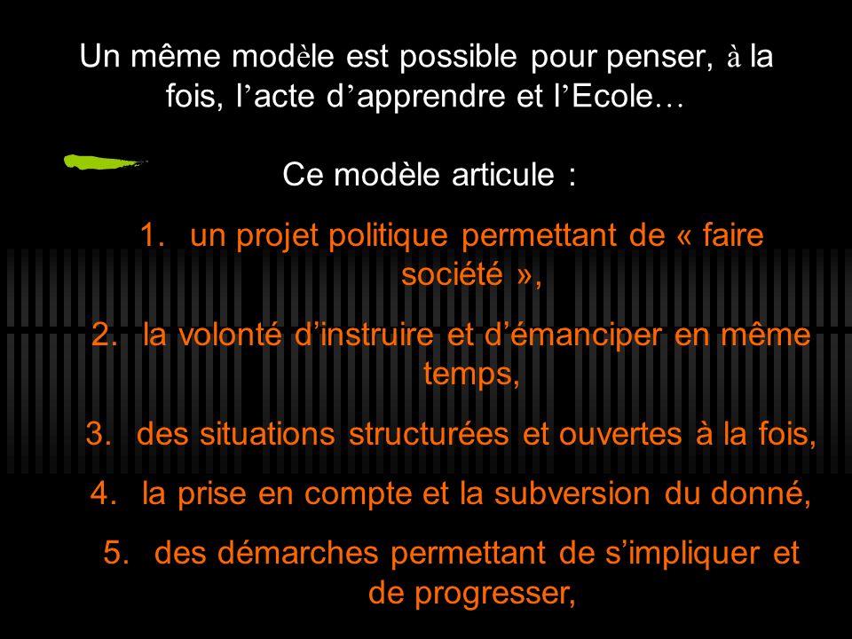 Un même mod è le est possible pour penser, à la fois, l acte d apprendre et l Ecole … Ce modèle articule : 1. un projet politique permettant de « fair
