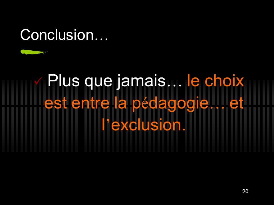 20 Conclusion … Plus que jamais … le choix est entre la p é dagogie … et l exclusion.