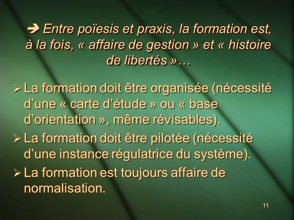 11 Entre poïesis et praxis, la formation est, à la fois, « affaire de gestion » et « histoire de libertés »… Entre poïesis et praxis, la formation est, à la fois, « affaire de gestion » et « histoire de libertés »… La formation doit être organisée (nécessité dune « carte détude » ou « base dorientation », même révisables).